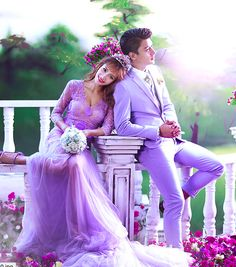 ✔ Gift For Him Videos Romantic Romantic Couple Images, Wedding Couple Poses Photography, Couples Images, Cute Couples, Romantic Dp, Purple Love, Lovely Girl Image, Girls Image, Purple Dress Accessories