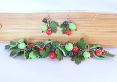 Set berries gooseberry red currant black currant and leaves summer jewelry gift for her bright jewelry polymer clay handmade  fashion 2015