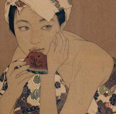Risultati immagini per ikenaga yasunari Art And Illustration, Japanese Art Prints, Art Occidental, Watermelon Art, Art Ancien, Art Asiatique, Art Folder, Art Japonais, Art Moderne