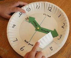 Math > Time/Date Use paper plates to make a clock for teaching time Elementary Math, Kindergarten Math, Teaching Math, Teaching Time Clock, Kids Math, Math Math, Math Fractions, Kids Fun, Homeschool Math