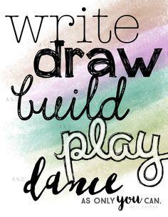 Items similar to Write, Draw, Build, Play, Dance - Neil Gaiman Quote Print on Etsy Neil Gaiman Quotes, Play, Quote Prints, Original Art, Dance, Writing, Digital, Words, Dancing