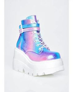 Free, fast shipping on Candy Night Terror Platform Boots at Dolls Kill, an online boutique for rave & kawaii shoes. shoes, platform sneakers, & platforms here. Chunky Heel Ankle Boots, Wedge Boots, Chunky Heels, High Boots, Kawaii Shoes, Kawaii Clothes, Cute Shoes, Me Too Shoes, Women's Shoes