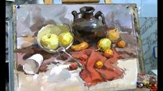 Still life Gouache Painting Demonstration Ancient Greek Sculpture, Still Life Oil Painting, Purple Iris, Yellow Tulips, Guache, Art Academy, Gouache Painting, Blue Beads, Traditional Art