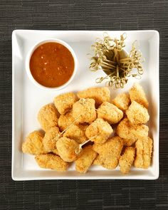 Panko-Crusted Chicken Bites with Apricot-Mustard Sauce - best homemade breaded chicken Ive made yet!