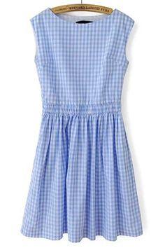Sweet Blue Plaid Sleeveless Dress - OASAP.com