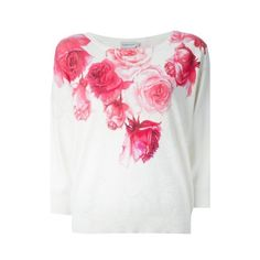 MONCLER Rose Print Sweater ($408) ❤ liked on Polyvore featuring tops, sweaters, white, 3/4 length sleeve tops, cotton sweater, white cotton tops, white cotton sweater and white sweater