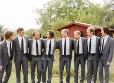 snazzy groomsmen but with pale pink ties (no jacket?)