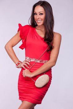 RED ONE SHOULDER RUFFLE BEADED WAIST PLEATED DRESS  Price: $27.49  Art Plus Enterprise, Inc.  Give your look some class with these dress! Featuring one shoulder cut, one strap ruffle detail, front beaded waistline, lower pleats, and ruched sides. Side zipper. Fully lined. Polyester/Spandex. Imported. Approx. length is about 28 inches