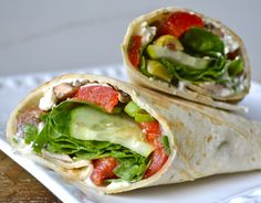 Greek Wraps with Roasted Red Peppers, healthy and delicious!