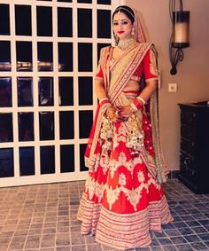 Red and Gold lehenga look
