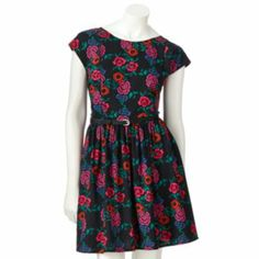Lauren Conrad Floral Bow Dress frm Kohls great with polkadot shoes