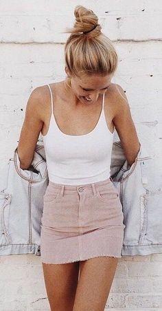 #summer #outfits White Tank + Blush Denim Skirt + Denim Jacket