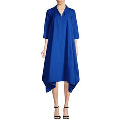 Max Mara Women's Liriche Tunic Dress - Blue, Size 2 (20.670 RUB) ❤ liked on Polyvore featuring dresses, blue, elbow length sleeve dress, blue color dress, blue dress, panel dresses and blue day dress