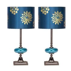Modern-Table-Lamp-Set-of-2-Drum-Shade-19-in-Metal-Stand-Home-Living-Room-Decor