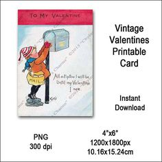 Vintage Child Valentines Card Victorian Printable Kid Postman Clipart Card Instant Download Digital Clip Art Image Vin0020 Valentines Design, Valentines For Kids, Vintage Valentines, Printable Cards, Printables, Clip Art, Trend Fashion, Oeuvre D'art, Vintage Children