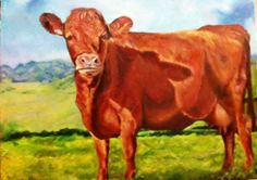 ORIGINAL 16X20 OIL PAINTING OF COW