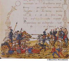 Ricc. 2669, FILIPPO CALANDRI, Trattato di aritmetica Sec. XV, fine; Firenze; bottega di Boccardino il vecchio.  Battaglia del re di Francia, c. 106v Il re di Francia sendo in battaglia fu rotto in tal modo che gli fu moti el 1/4 ds' sua soldati et li 2/5 gli furomo presi prigionj et 6000 gliene champò.  Vò sapere quanti soldati naveva in prima che egli fusse roto.