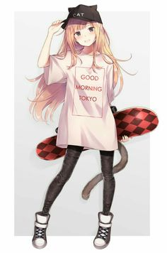 Skatermädchen Original, Original Anime is hand-drawn and computer animation originating from or associated with Japan. The word anime i. Anime Girl Neko, Art Anime Fille, Cool Anime Girl, Pretty Anime Girl, Chica Anime Manga, Cute Anime Pics, Beautiful Anime Girl, Anime Art Girl, Anime Girls