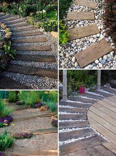 Pave a river rocks or gravel garden path and top it with log sleepers that can be used for paving or as lawn or patio edging. Pave a river rocks or gravel garden path and top it with log sleepers that can be used for paving or as lawn or patio edging. Landscaping With Rocks, Front Yard Landscaping, Landscaping Ideas, Landscaping Edging, Railroad Ties Landscaping, Nautical Landscaping, River Rock Landscaping, Landscaping Plants, Patio Edging