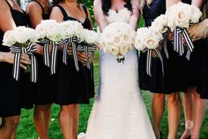 Bridal Bliss Wedding: Gorgeous white bouquets with black and white stripped ribbons! Flowers by Zest