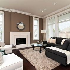 Brown accent Wall with tan walls. This is what I plan to do to my living room wa. Living Room Remodel Before and After - Diy Home Decor Crafts Living Room With Fireplace, Living Room Grey, Living Room Decor, Living Rooms, Grey Fireplace, Fireplace Design, Family Rooms, Brown Carpet Living Room, Fireplace Redo