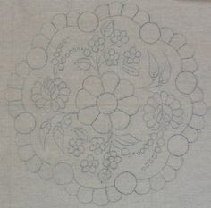 Hungarian stamped embroidery pattern Kalocsa style by lmntlcrafts, $3.00