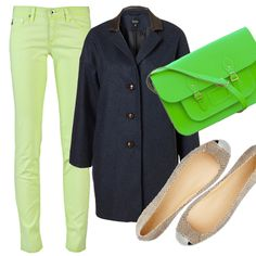 On Acid:  Slide ASOS' neon green jeans ($57.30) under a navy blue sweater or coat (Topshop oversize boyfriend jacket, $178), gray flats (ours are snakeskin, $235 from Rachel Zoe) and a matching neon green Cambridge Satchel!