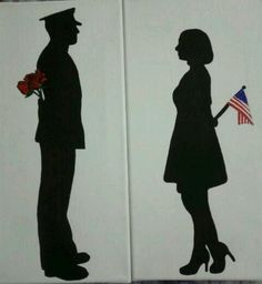Silhouette painting I did of a marine and girl