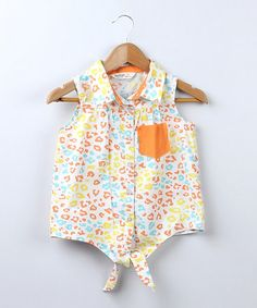 Take a look at this Orange Animal Print Tie Top - Girls by Bee-Young on #zulily today!