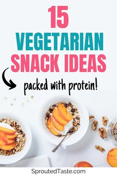 Get your snack attack on with this list of 15 high protein vegetarian snacks. These snack ideas are healthy, filling, AN Healthy Protein Snacks, Protein Cake, Vegetarian Protein, Vegetarian Snacks, Going Vegetarian, Healthy Eating Tips, Protein Muffins, Protein Cookies, Healthy Breakfasts