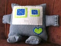 upcycled jeans into robot toy by ruth