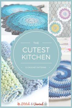 12 Kitchen Crochet Patterns~free #crochet patterns round-up on #StitchAndUnwind. #handmade
