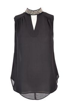Black Embellished High Neck Top