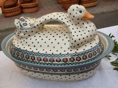 Funny baking dish with a lid! Polish pottery :D