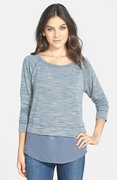 Free shipping and returns on Halogen® Layered Look Long Sleeve Tee at Nordstrom.com. A shirttail inset of sheer chiffon lends a breezy layered look to a crewneck tee of soft space-dyed jersey.