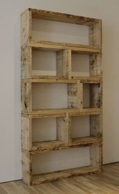 Rustic Home Made Wooden Shelves Design For White Wall - Use J/K to navigate to previous and next images