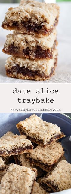 Sweet and full of oats, these Date Slices are a perfect teatime or lunch box treat. Simple, straightforward and easy to bake. Healthy Vegan Cookies, Vegan Sweets, Vegan Snacks, Vegan Desserts, Vegan Food, Vegan Cake, Vegan Dishes, Tray Bake Recipes, Baking Recipes
