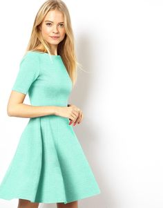 ASOS Structured Skater Dress In Heavy Rib http://asos.to/1oxM231 Nice color! I think I have a new obsession!
