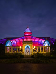 "James Turrell's ""Light Raiment II"" illuminates the Palm House at Franklin Park Conservatory in Columbus, Ohio. The installation is on view every evening beginning at dusk. Photography © Brad Feinknopf 2008"