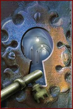 "**The Locked Door. Artist - Unknown. Wonderful ""door"" fantasy--How I'd like to turn that key and..."