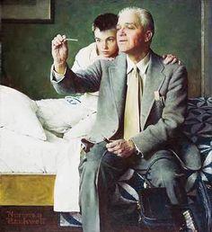 La medicina en el arte. Norman Rockwell, Doctor and Boy Looking at Thermometer. 1954