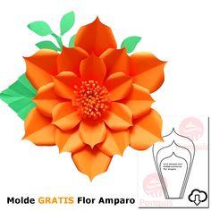 Flor de PapelGigante Molde GRATIS Pineapple, Fruit, Molde, Paper Flowers, Colors, Pine Apple