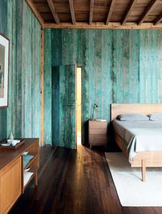 wood on wood, color washed walls
