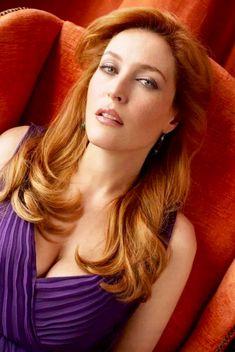 Gillian Anderson in purple