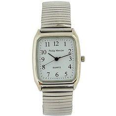 Philip Mercier Gents Silver Tone Expander Bracelet Strap Dress Watch MC47C Square Watch, Watches, Bracelets, Silver, Dress, Accessories, Dresses, Wristwatches, Clocks