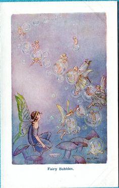 flutter... Fairy flies.. by Hilda Miller... postcard Art...