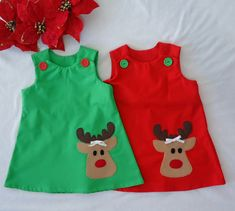 Rudolph Dress - Baby Girl Dress - Toddler Dress - Baby Dress - Holiday dress-Christmas Outfit- Girl Christmas Dress by LoopsyBaby on Etsy