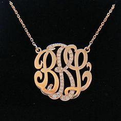 10k 14k 18k Or Sterling Silver Lariat Monogram Necklace