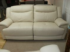 PEBBLE LEATHER 3 SEATER SOFA WITH ELECTRIC RECLINING (96) £699 in Chaises Longues | eBay