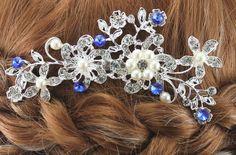 Bridal Hair Comb Wedding Hair Comb Sapphire by goddessdesignsgems Bridal Comb, Hair Comb Wedding, Wedding Hair Pieces, Wedding Hair And Makeup, Bridal Hair, Blue Pearl, Blue And Silver, Curly Hair Styles, Natural Hair Styles
